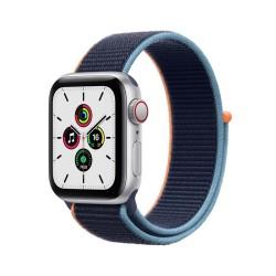 Apple Watch SE GPS + Cellular, 40mm Silver Aluminium Case with Deep Navy Sport Loop