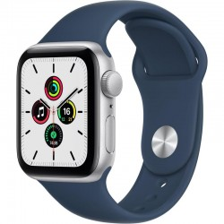 Apple Watch SE GPS, 40mm Silver Aluminium Case with Abyss Blue Sport Band - Regular