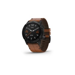 Garmin Fēnix 6X Sapphire 51mm Black DLC with Chestnut Leather Band