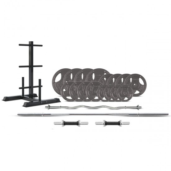 Lifespan Fitness CORTEX 90kg Tri-Grip 25mm Standard Barbell Weight Set with Weight Tree